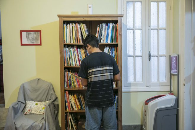 A young unaccompanied boy in one of the shelters funded through
